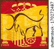 Grunge Spanish flag with the emblem and the silhouette of a black bull - stock