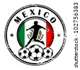 Grunge stamp with football and name Mexico, vector illustration - stock photo