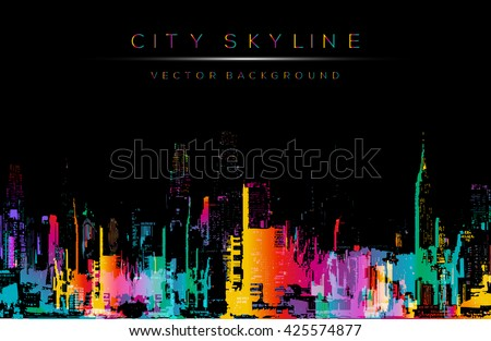 Grunge style vector art, colorful city night skyline illustration. Horizontal banner on black background.