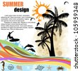 Grunge  summer design  background with palm trees,surfer and dolphins,vector illustration - stock vector