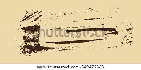 Grunge texture. Brown brush on beige. Vector template. Urban Background. Dust Overlay Distress Grain. Hand drawn illustration. Abstract shape for your design or scrapbook.