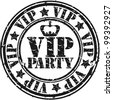 Grunge vip party rubber stamp, vector illustration - stock vector