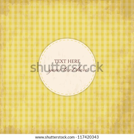 Grunge Yellow Vintage Card, Plaid Design