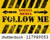 "grungy ""Follow Me"" social media sign or button, industrial style - stock photo"