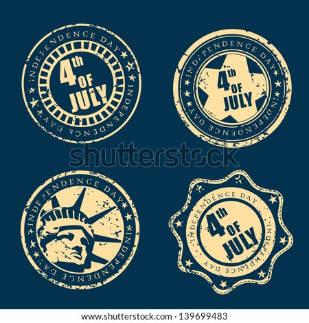 Grungy rubber stamps set for 4th of July, American Independence Day on blue background.