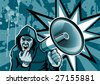 Guy with megaphone, illustration, dirty style - stock photo