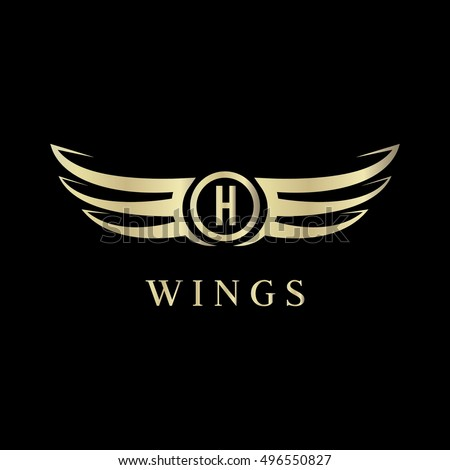 L Letter Wings Logo Vector Template Stock Vector - Car sign with wings