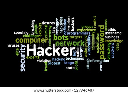 Hacker Attack - Word Cloud on black background