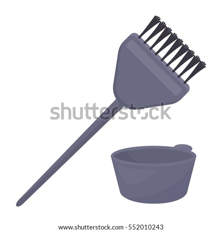 Hair coloring brush icon in cartoon style isolated on white background. Hairdressery symbol stock vector illustration.
