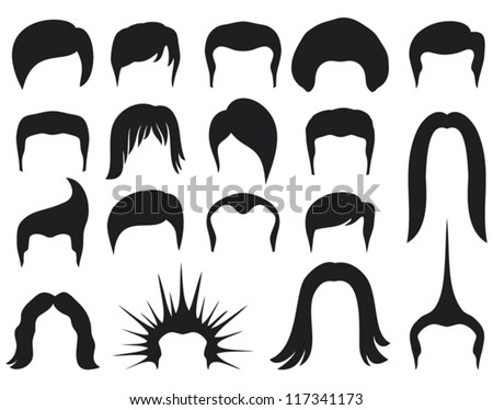 Hairstyle Vector : hair style set for men (hair style collection, hair styling for man ...