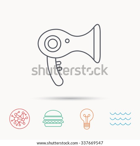 Hairdryer icon. Electronic blowdryer sign. Hairdresser equipment symbol. Global connect network, ocean wave and burger icons. Lightbulb lamp symbol.