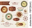 Halal food labels and elements - stock vector