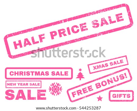 Half Price Sale rubber seal stamp watermark with additional design elements for Christmas and New Year offers. Tag inside rectangular banner with grunge design and dust texture. Vector pink signs.