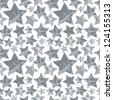 Halftone dots textured stars seamless pattern, monochrome vector background. - stock photo
