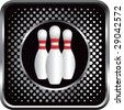 halftone silver button bowling pins - stock photo