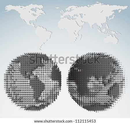 Halftone world map and globes