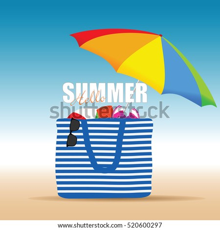 hallo summer on color bag with beach accesoir design illustration