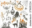 Halloween and horror hand drawn set - stock photo