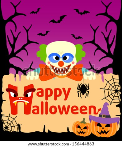 Halloween background card with Clown