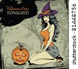 Halloween card with a sexy witch and a spooky pumpkin - stock vector
