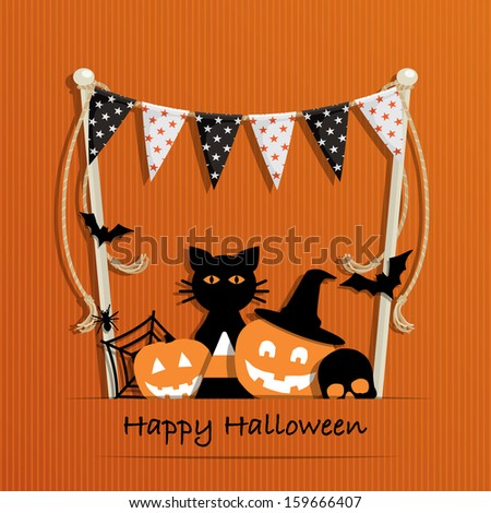 Halloween card with bunting and decorations, eps 10 format with transparencies