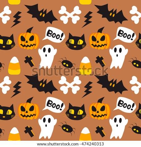 Halloween Background Pumpkins Cats Bats Skulls Stock Vector ...