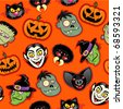 Halloween Characters vector pattern in orange background - stock photo