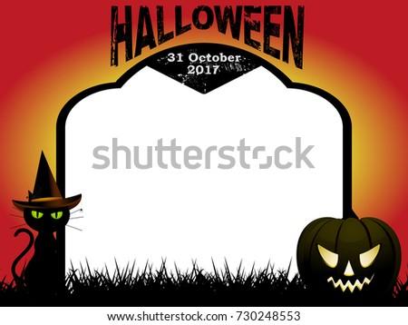 Halloween Sign Black Cat Pumpkin On Stock Vector 111030035 ...