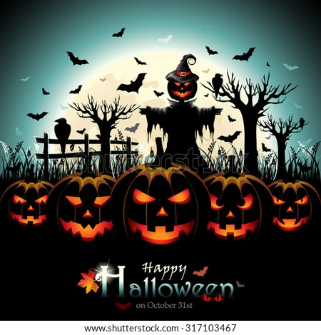 halloween design with pumpkins and scarecrow in front of full moon - Halloween Design