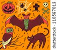 Halloween hand-drawn elements - stock photo