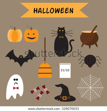 Halloween Icons Set. Vector illustration. EPS 10