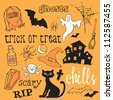 Halloween icons sketch vector - stock vector
