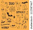 Halloween icons sketch vector - stock photo