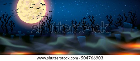 Halloween illustration -full moon and cemetery with mist - EPS10