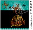 Halloween invitation card layout series (evil spiders) - stock vector