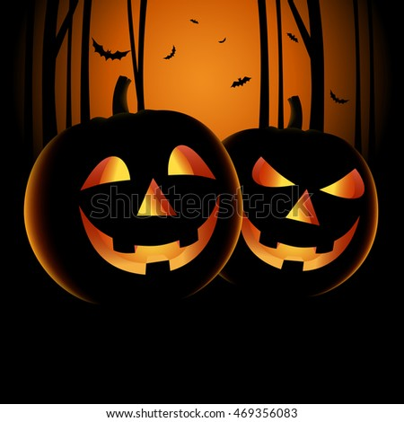 Halloween night backdrop with pumpkins and haunted forest