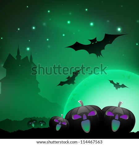 Halloween night background with scary pumpkins, flying bats and silhouette of haunted house. EPS 10.