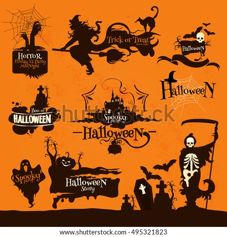 halloween night party decoration emblems celebration design elements for banner placard silhouette icons - Halloween Night Party