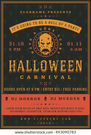 halloween night party poster design template typography flyer invitation vector illustration - Halloween Night Party