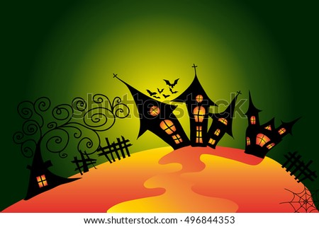 Halloween night with creepy castle, bat, crow and tomb. Vector illustration with colorful background.