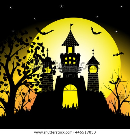Halloween night with silhouette castle and bats on full moon vector illustration background