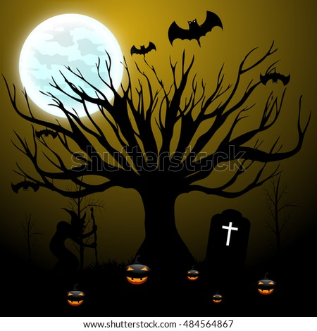 Halloween Party Background with Pumpkins in the Grass Bats and Moon in the Back,Halloween flyer design .