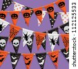 halloween party bunting background, with clipping path - stock vector