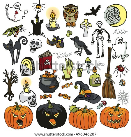 halloween party iconsdoodle hand drawing witch spooky elements setvector halloween isolated items - Halloween Items