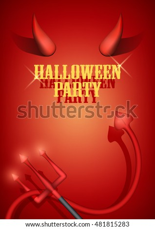 Halloween Party Invitation with devil horns, tail and fork. Vector Illustration.