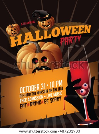 Halloween party poster invitation with pumpkins and blood champagne. EPS 10 vector.