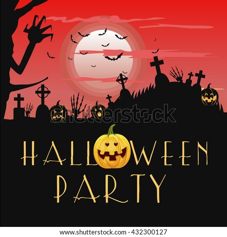 Halloween party vector greeting card with pumpkins, bats and tombstone