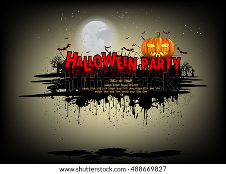 Halloween party. Vector illustration blood massage design