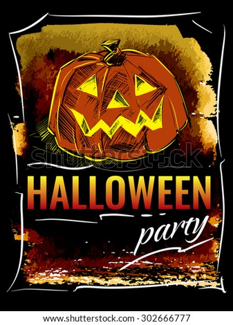 Halloween party. Vector template for design posters or invitations.