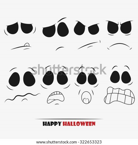 Halloween pumpkin faces set for your design